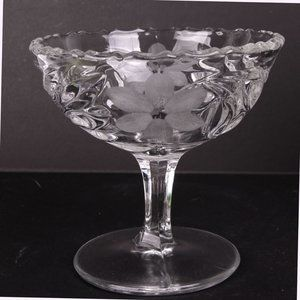 Clear Glass Footed Bowl Etched Flower Scalloped Waved Edge Dish